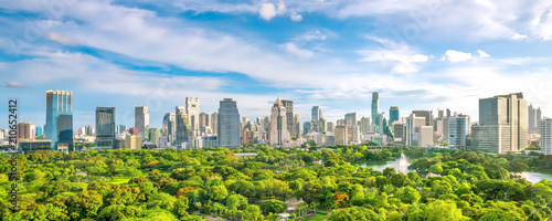 Spoed Fotobehang Asia land Bangkok city skyline from top view in Thailand