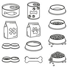 Line Art Black And White 12 Pet Food Elements