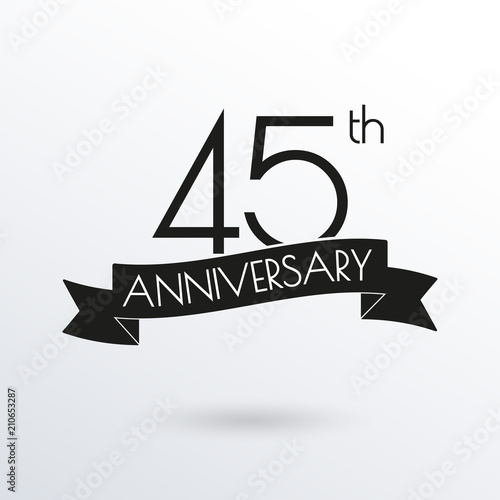 фотография  45 years anniversary logo with ribbon