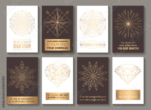 Fotografía  Motivational cards golden