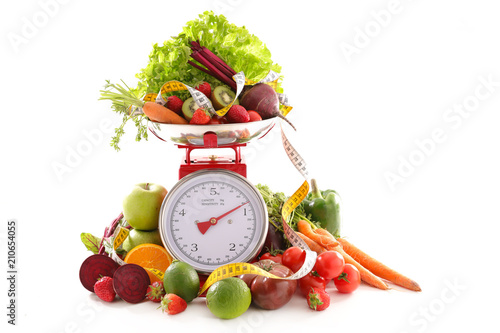 Fotomural balance with fruit and vegetable, diet food concept