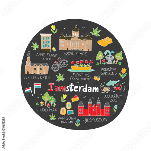 Photo  Amsterdam city doodle in cute hand drawn style