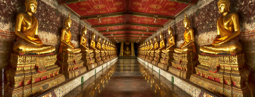 Fototapety, obrazy: One landmark of Wat Suthat Thepwararam in Bangkok, Thailand. A place everyone in every religion can be viewed.