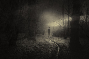 dark scary apparition in mysterious forest, horror surreal landscape