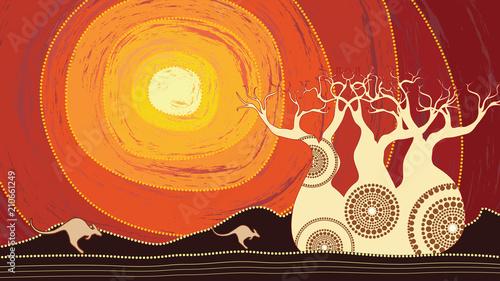 Naklejki specjalne  boab-baobab-tree-vector-painting-aboriginal-art-vector-background