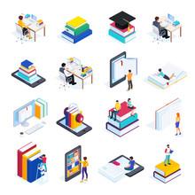 Isometric Icons Of Online Educ...