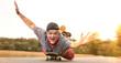 canvas print picture - Rentnerpower auf Skateboard überglücklich