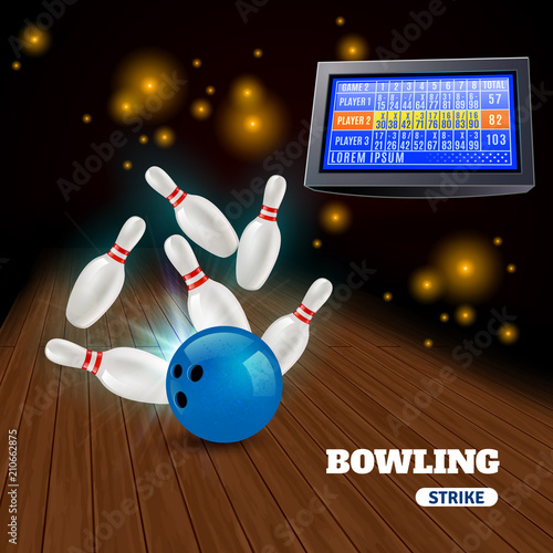 Bowling Strike 3D Illustration
