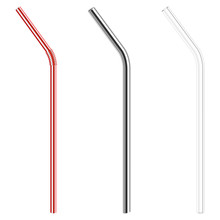 Modern Reusable Glass And Steel Drinking Straws As Alternative Replacement For Classic Disposable Plastic Drinking Straw, Isolated Objects On White Background, Stock Vector Illustration