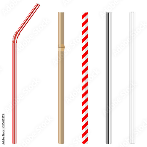 Carta da parati modern reusable glass, steel, paper and bamboo drinking straws as alternative re