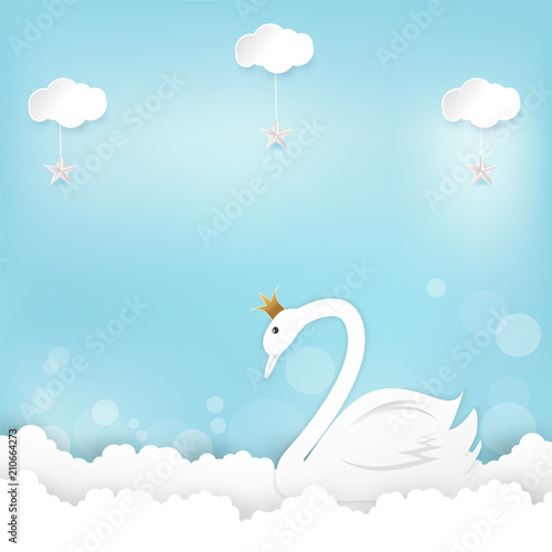 Princess Swan and cloud Happy Birthday, Shower card paper art, paper craft style illustration blue background