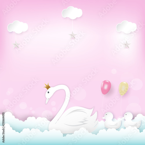 Family' s Princess Swan with balloons floating and cloud Happy Birthday, Shower card paper art style illustration pink background