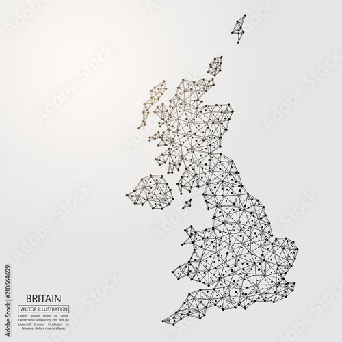 A map of Britain consisting of 3D triangles, lines, points, and connections Canvas Print