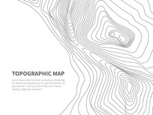 Geodesy Contouring Land. Topographical Line Map. Geographic Mountain Contours Vector Background
