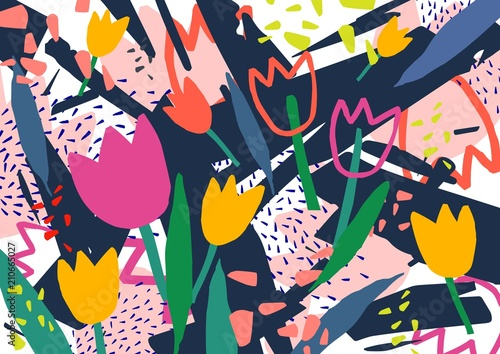 Creative horizontal backdrop with tulip flowers and colorful abstract stains and scribble. Bright colored decorative background. Trendy artistic vector illustration in contemporary art style.