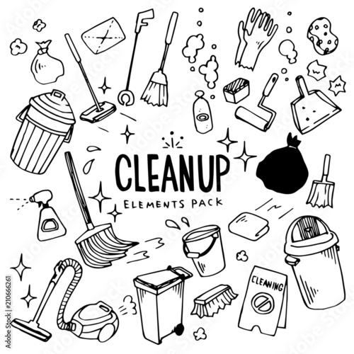 Billede på lærred CleanUp Illustration Pack