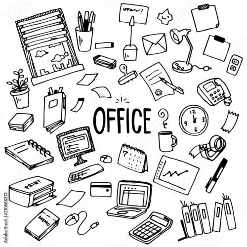 Office Illustration Pack Fototapete