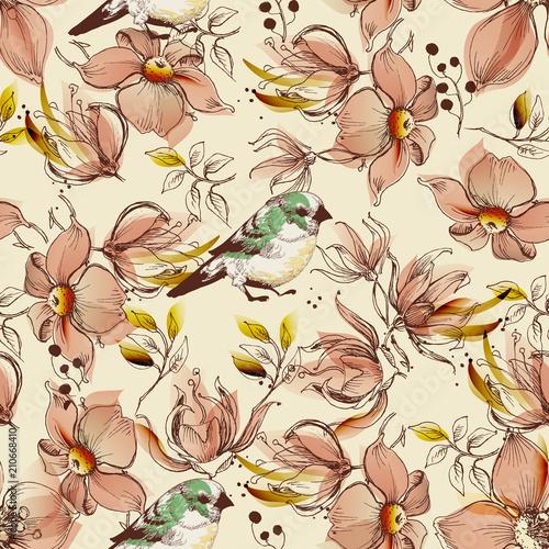 wzor-rozowe-kwiaty-i-ptaki