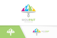 Vector Mountain And Brush Logo Combination. Nature And Paintbrush Symbol Or Icon. Unique Hill And Print Logotype Design Template.