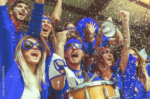 Fotografia, Obraz group of fans dressed in blue color watching a sports event