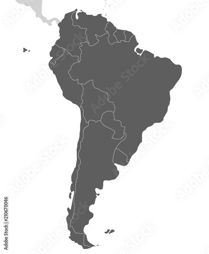 Fotografía  Political blank South America Map vector illustration isolated on white background