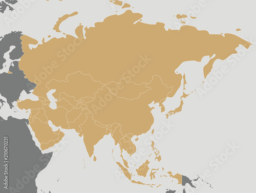 Political blank Asia Map vector illustration. Editable and clearly ...