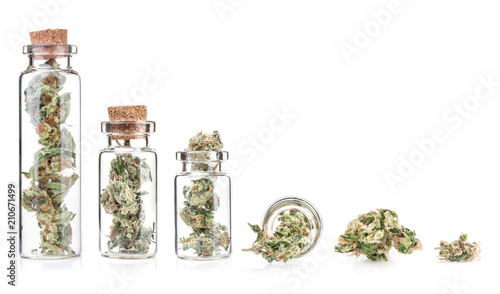 Medical marijuana isolated on white background Wallpaper Mural
