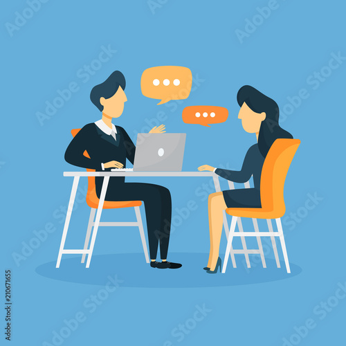Business interview illustration. Wallpaper Mural