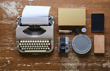Vintage Hipster Collectibles Typewriter Camera Wood And Leather Gadgets