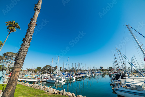 Tuinposter Poort Boats in Oceanside harbor in Southern California