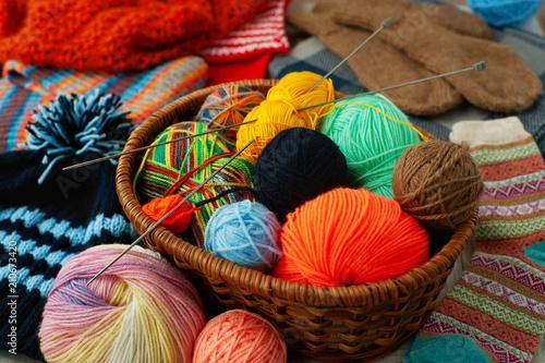 Fotografie, Obraz  Balls of yarn for knitting in the basket