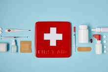 Top View Of Red First Aid Kit ...