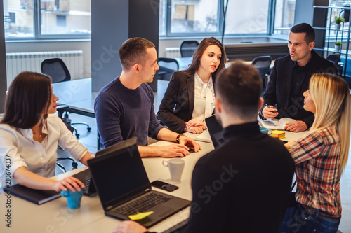 Office meeting pictures Oval Office Manager Talking To His Staff At The Office Meeting Adobe Stock Manager Talking To His Staff At The Office Meeting Buy This Stock