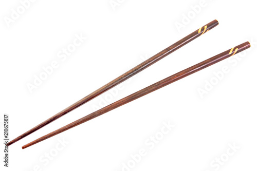Photo Wooden chopsticks isolated on white background