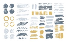 Bundle Of Colorful Brush Strokes, Paint Traces, Smudges, Smears, Stains, Scribble Isolated On White Background. Set Of Grey And Yellow Hand Drawn Design Elements. Artistic Vector Illustration.