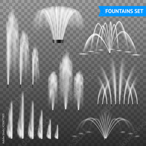 Foto Realistic Fountain Transparent Set