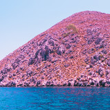 alien mountain landscape and sea. bright neon  pink, orange and blue colors. minimal and surreal. summer vacation. - 210680043