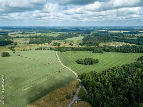 Tuinposter Olijf drone image. aerial view of rural area with fields and forests