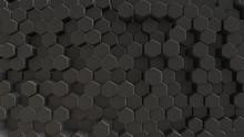 Black Abstract Field Hexagon