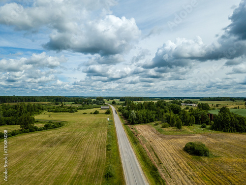 Poster Donkergrijs drone image. aerial view of rural area with fields and road network