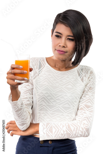 Staande foto Sap Beautiful asian woman with glass of orange juice. Studio shot