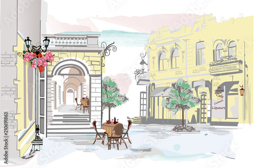Foto op Canvas Drawn Street cafe Series of colorful street views in the old city. Hand drawn vector architectural background with historic buildings.