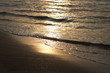 sunlight reflect on wave sea water when sunrise at coast, felling tranquil