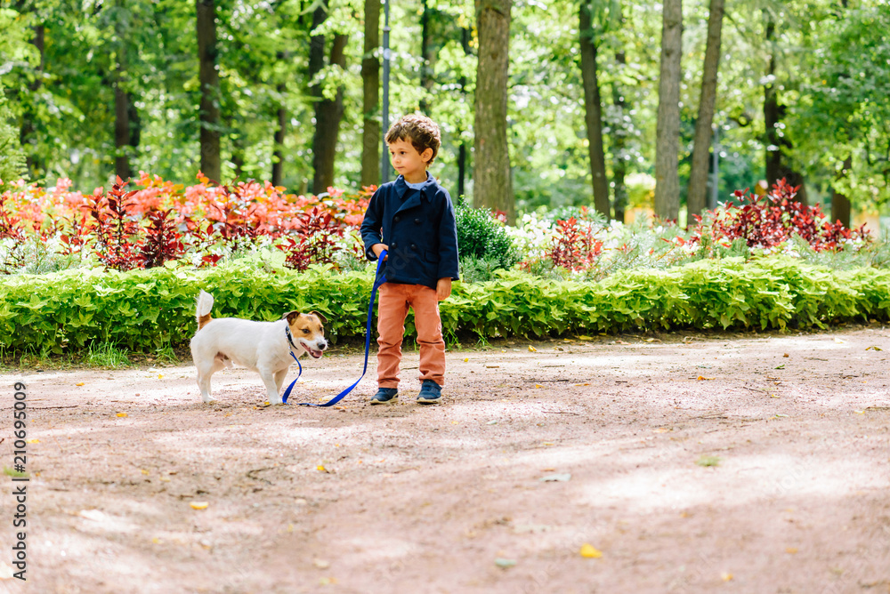 Kid boy walking with dog on leash at park
