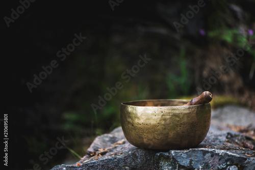 Valokuva Tibetan bowl on rocks in the forest.