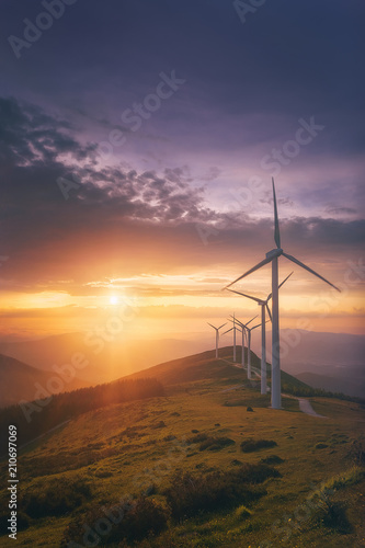 Fotomural renewable energy with wind turbines
