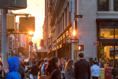 Foto op Canvas New York City Crowds of anonymous people walk down the sidewalk in Midtown Manhattan, New York City NYC