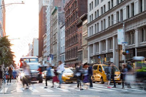 Poster New York TAXI Busy people in motion across an intersection on Broadway in Manhattan New York City