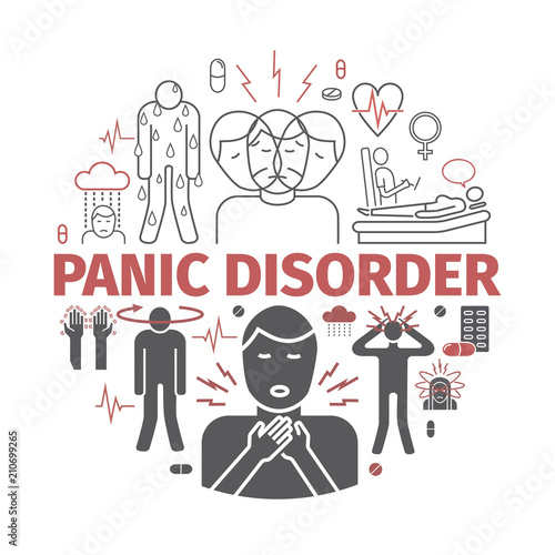 Fotografía  Panic disorder banner. Vector illustration