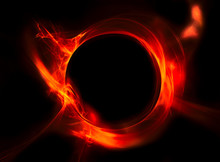 Red Circle Of Fire On A Black Background